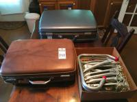 Three Items. One (1) Metal Fire Ladder, Two (2) Vintage AMERICAN TOURISTER Suitcases Gray and Tan. Tan one has a Missing Slide