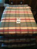 Six (6) Couch Cushions in Green Beige Red Plaid Bottom Cushions 24 x 24 x 4 Inches, Back Cushions 26 x 14 x 4 Inches
