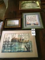 (4) Ship Wall Art Pcs. (1) Mirrored Clock w/Ships, (1) Clipper Ship Framed Print, (1) Watercolor Docking Fish Boat, (1) Sailboats and Quote