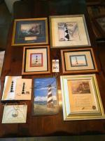 (8) Lighthouse Themed Wall Art, Painted on Slate, Cross Stitch, Quote Hanger, Framed Amazing Grace Music Box Picture, Cape Lookout, & Thomas Kinkaid