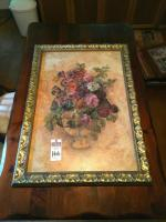 Large Bouquet of Roses Painted in Vase Gold in Color Egg and Dart Frame Originally From Kirkland�s Cedar Creek Collection 28 Inches x 40.5 Inches