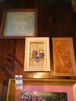 (4) Wall Art Pcs., (1) Mother&Daughter in Garden, (1)Pierced Tin Welcome Home, (1)Carved Wood Woman in Kitchen, &(1) Diorama Pitcher of Flowers&Apples