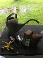 (3) Vintage Gardening Tools & (3) Hand Garden Tools; (1) #12 Galvanized Watering Can, (1) Bee Smoker, (1) Yellow Yard Sprinkler & (3) Hand Tools