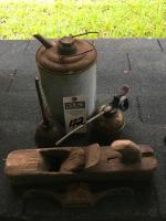 (5) Vintage and Primitive Tools, (1)Primitive Hand Planer, (1)No.53 Rope Cleat, (1)Oil Can, (1)BREVETTATO Oil Can g. 500, (1)Galvanized Kerosene Can