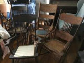 (3) Antique Pressed Back Rocking Chairs (1) Panel Seat Needs to be Re-Caned, (1) Cane Seat, & (1) Round Grey Blue Seat