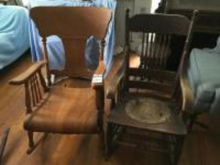 Two (2) Antique Victorian Pressed Back Rocking Chairs, (1) Tooled Leather Round Seat, & (1) Tiger Oak Rocking Chair