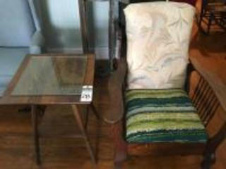 (3) Vintage Parlor Pcs.,(1)Upholstered Reclining Morris Chair, (1)Two Tier Spindle Side Table, & (1)Reclining Morris Chair Frame w/Good Luck Horseshoe