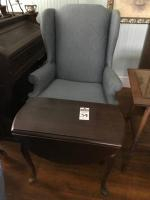 Two (2) Sitting Area Pieces, (1) Gray Blue with Gold Chevron Accent Wing Back Chair, and (1) Chippendale Style Drop Leaf Table