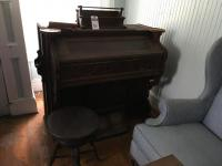 Four (4) Pcs., Vintage GEO. P. BENT Pump Organ, (1) Organ Stool, Hymn Books, & (1) Music Stand
