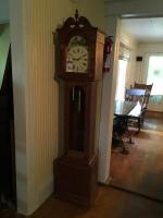 One (1) Vintage Germany 1940's or 50's Grandfather Clock Mountain Chalet Scene
