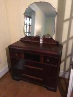 One (1) Art Deco 1930's Waterfall Three Drawer Chest with Matching Mirror Some of the Veneer is Pulling Away