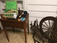 (4) Sewing Pcs. (1)Antique Spinning Wheel, (1)SINGER Sewing Machine w/Cabinet Serial #AM282849 (1)Yarn & Yarn Spindles, & (1)Sewing Baskets w/Contents
