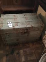 One (1) Old Steamer Trunk with Wood Inside and Iron Hardware