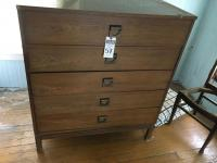 Two (2) Pcs., (1) Mid Century Modern Five Drawer Tall Dresser PIONITE Laminate, & (1) 1940's Vanity In Need of Restoration