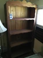 Two (2) Wood Rustic Farmhouse Style 4 Shelf Bookcases 35.5 Inches x 13 Inches x 71.5 Inches.