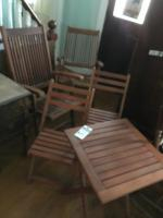 Five (5) Piece Wood Folding Reclining Outdoor Bistro Set, 1 Table 2 Smaller Folding Chairs and 2 Captains Chairs