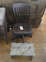 Two (2) Pcs., (1) 1920's 1930's Rolling Desk Chair by TAYLORS Comfortable Chair Plaque U.S. Government RFC 5966 & (1) Rustic Wood Foot Stool