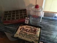 Three (3) Pcs., (1) Vintage Wood COCA-COLA 24 Bottle Soda Crate, (1) Vintage COCA-COLA Mirrored Tray, (1) Vintage Lidded LANCE Cracker Glass Jar