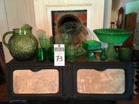 Ten (10) Pcs. Of Green Glassware & (1) Yellow Depression Dinner Plate Cameo Pattern, (2) DURAGLASS Jars, (2) ANCHOR HOCKING Milano Pattern, & More