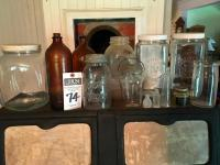 (13) Pcs. Vintage and Antique Collectible Glass Bottles, PUREX, CLOROX, BALL Perfect MASON with Galvanized Lid, Cannisters, Pint Milk Bottle & More
