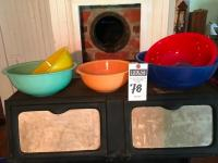 Five (5) Pcs., Vintage PYREX Clear Bottom Nesting Mixing Bowls, Blue, Red, Yellow, Turquoise, & Peach