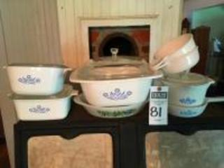 (8) Vintage CORING WARE & GLASBAKE Pcs., (5) Cornflower Casseroles, Dutch Oven, Sauce Maker and Frying Pan, (2)18oz Grab It Dishes, & (1)GLASBAKE Dish
