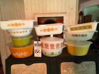 Ten (10) Vintage Casseroles & Dishes PYREX, CORNING WARE, FIRE KING, & GLASBAKE