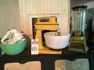 (4) Pcs. Vintage Appliances & (1)FIREKING Jadeite Mixing Bowl, (1)WARING Blender Glass Body, (1) KITCHEN AID Hand Mixer, (1)HAMILTON BEACH Stand Mixer