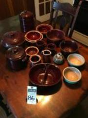 (17) Pcs., Stoneware Brown & Blue In Color, From TOSTOE, MARCREST, HULL, Pieces Include Bud Vase, Bowls, Creamer, Sugar, Cookie Jar, Dutch Oven, &Cups