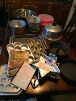 (23) Baking Pans, Cookbooks, Heart Cookie Cutter, Star Cake Pan, Muffin Tins, Cookie Sheets, Angel Food Cake Pans, Cake Dome, Mixing Bowls & More