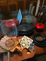(17) Cook Ware Pcs. Wood Cutting Boards, Trivets, Bread Basket, Stock Pot, Sauce Pan, Granite Wear Roaster & Stock Pot, Frying Pans, & More