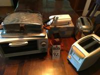 Six (6) Pcs. Kitchen Appliances; (1) Waffle Maker with Original Plug, (2) Toasters, (1) Vintage Hand Food Grinder, Vintage