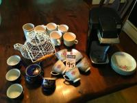 (24) Coffee and Tea Pcs., (1)KEURIG Single Cup Model #B31, (11)NORTHRIDGE Pcs., (5)Vintage Royal Blue Japanese Tea Set Pieces, (1)D�cor Pc. & (6)Cups