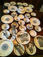 (36) Pcs. PONTESA Ironstone Made In Spain The Castilian Collection, (32) Pcs. Silverware, & Six Solid Brass Silver Plate Napkin Holders