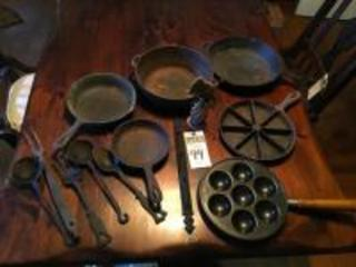 "(11)Cast Iron Pots&Utensils, (1)Pancake Ball Pan,&(1)Snail Mini Weathervane Bauble,(1)Wall Hanger 14"" w/Hooks,(5)Cast Iron Utensils,(5)Cast Iron Pans"