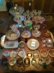 (68) Glass Serving & Prep Pcs., Syrups, Pepper, Ashtray, Ramekins, Mini�s, Cups, Plates, Trays, Serving Dishes, Juicer, & Punch Bowl w/Cups, Ladle