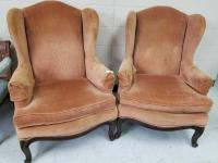 Pair of Upholstered Winged Back Chairs