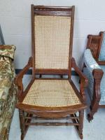 Antique Wood Cane Back/Seat Rocking Chair