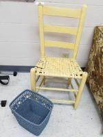 Painted Chair; Wicker Trash Can