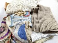 Collection of Knitted; Crocheted Items; Rug; Tablecloth