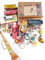 Collection of Vintage Toys; Cast Iron Pieces; Wood Pieces; Marbles; Yo-yos; Tin Toys; Games; misc