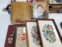 Coca Cola Tin Tray; Needlepoint Decorative Trays; Wooden Pieces;