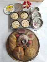 Needlepoint Coasters; Decorative Tins; Plastic Food; Floral Paperweight