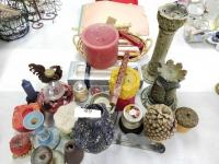 Collection of Candles; Candleholders; Candlesticks