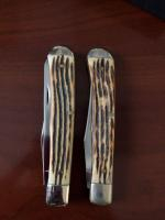 (2) 1976 Queen 19A Trapper Double Stamp Knife