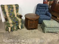 2 upholstered Chairs, ottoman & End Stand