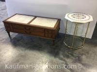 Marble Top End Stand & Coffee Table w/ Radio & Record Player