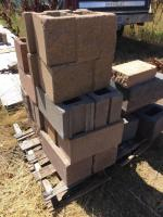 Three pallets various landscaping cement blocks