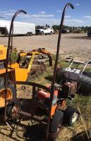 Two wheel cart (used to move trees); tiller parts