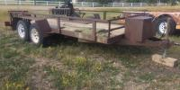 1980 Brown utility trailer 16' bed, dual axle, storage box in front, ramps